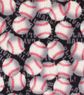 Anti-Pill Plush Fleece Fabric-Baseballs with Words