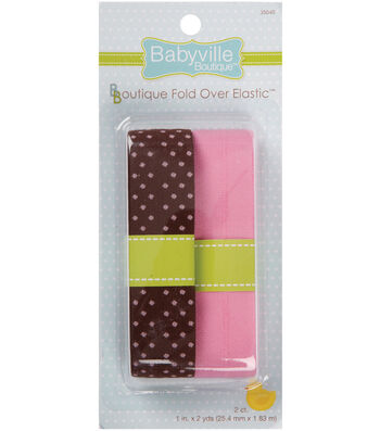 Babyville Fold Over Elastic Brown Brown With Dots And Solid Pink
