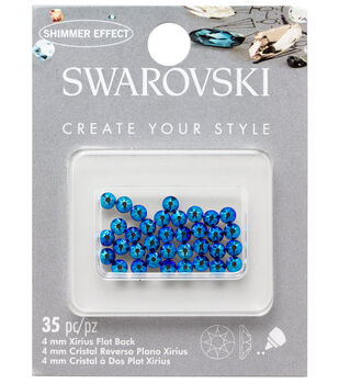 Swarovski Create Your Style 35 pk 4mm Flat Back Rhinestones-Blue Cobalt 6021d2e578d7