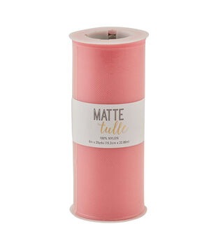 Matte Tulle Spool 6''x25 yds-Flamingo Pink
