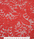 Knit Solids Stretch Fabric-Red Paisley Floral