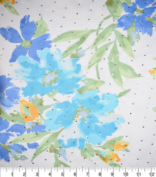 Fast Fashion Chiffon Fabric-Blue Daisy
