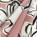 Silky Stretch Chiffon Fabric-Peach Sketchy Floral