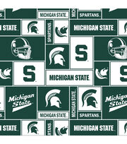 Michigan State University Spartans Fleece Fabric 58''-Block, , hi-res