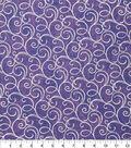 Keepsake Calico Cotton Fabric-Purple Foil Swirls