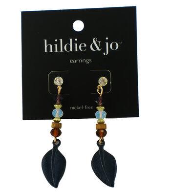 hildie & jo Feather Earrings-Blue Beads