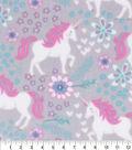 Anti-Pill Plush Fleece Fabric-Unicorns Pink Gray