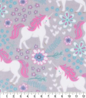 Anti-Pill Plush Fleece Fabric-Pink Unicorns on Gray