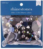 hildie & jo 220 pk 2.3 oz. Assorted Plastic Flat Back Rhinestones-Black, , hi-res