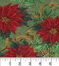 Christmas Cotton Fabric -Poinsettias and Hollys