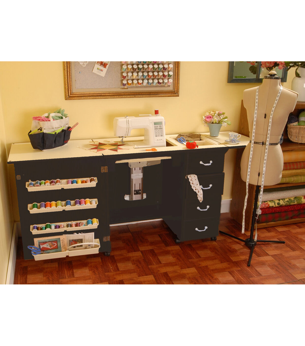 Norma Jean Black Sewing Cabinet  sc 1 st  Joann & Sewing Tables Cabinets u0026 Chairs - Sewing Furniture | JOANN