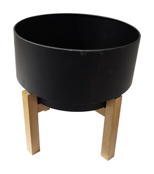 In the Garden Plant Stand with Wooden Base-Black