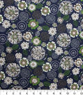 Quilter\u0027s Showcase Cotton Fabric-Floral Medallion on Navy