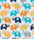 Nursery Cotton Fabric -Navy Elephant & Chevron