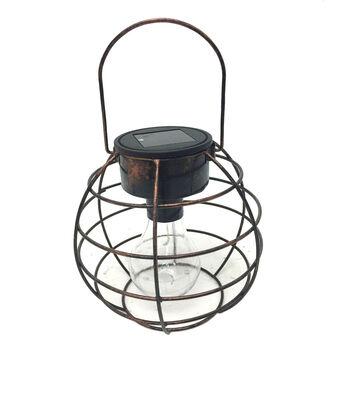 Hello Spring Round Cage Solar Hanging Lantern-Bronze