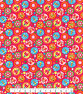 Tutti Fruitti Love Bug Embellished Fabric -Dragonfly Dots on Pink