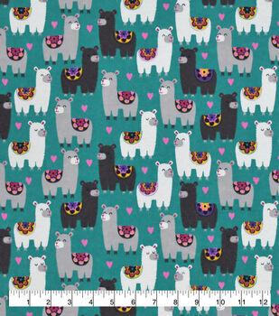 Valentine's Day Snuggle Flannel Fabric-Sassy Llamas on Blue