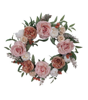 Blooming Autumn Rose & Thistle Wreath