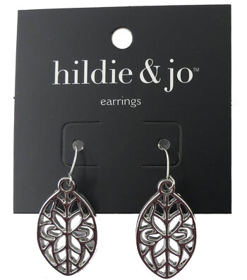 hildie & jo 1.13''x0.63'' Oval Cut Out Silver Earrings
