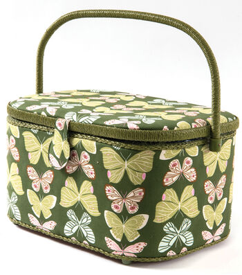 Sewing Basket XL Oval-Butterfly Olive