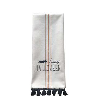 Maker's Halloween 12''x26'' Towel with Trim-Happy Halloween on Linen