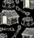 Anti-Pill Fleece Fabric 59\u0022-Sketched Dog Bones Black