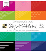 """DCWV 6""""x6"""" Double-Sided Printed Cardstock Stack-Bright Patterns, , hi-res"""