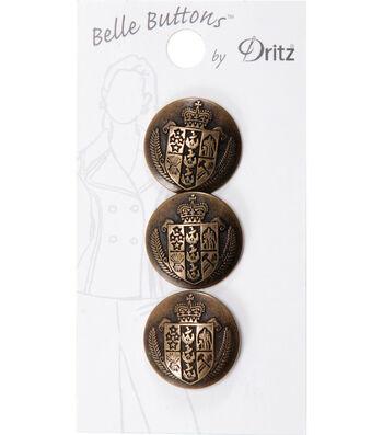 Dritz Belle Button Metal Crest Antique Gold 20mm