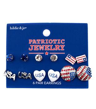 hildie & jo Patriotic Jewelry 6 Pair Earrings