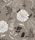 Anti-Pill Fleece Fabric -Textured Flowers on Gray