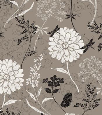 Anti-Pill Fleece Fabric 59''-Textured Flowers on Gray