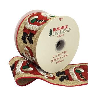 Handmade Holiday Christmas Ribbon 2.5''x25'-Santa on Natural