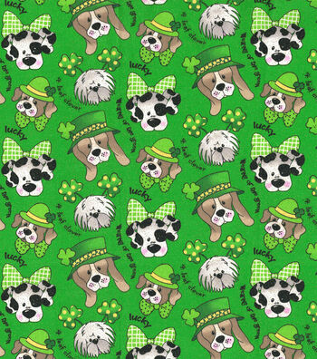 St. Patrick's Day Glitter Print Fabric 44''-Green With St. Pats Pups