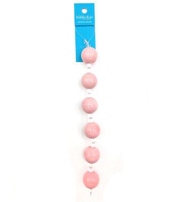 hildie & jo Ceramic Strung Beads-Light Pink & Clear