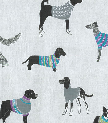 "Home Essentials Decor Fabric 45""-Pups On Parade Fog"