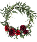 Blooming Autumn Rose & Dahlia Wreath-Red