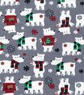 3 Yard Pre-Cut Snuggle Flannel Fabric 42\u0022-Polar Bears On Gray