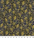 Asian Inspired Cotton Fabric 43\u0022-Floral Vines Blue Metallic