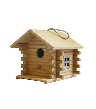 Unfinished Wood Birdhouse-Log Cabin