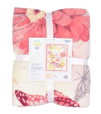 No Sew Fleece Throw Kit-Butterflies & Floral