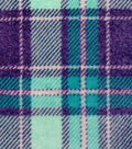 Luxe Fleece Fabric -Seafoam & Navy Plaid