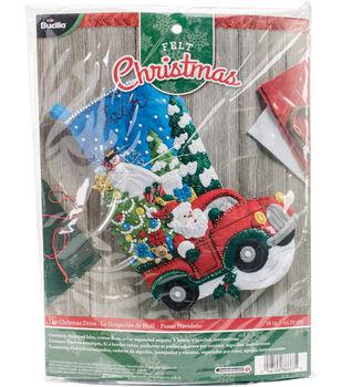 "The Christmas Drive Stocking Felt Applique Kit 18"" Long"