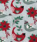 Christmas Cotton Fabric-Floral & Cardinal