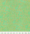 St. Patrick\u0027s Day Cotton Fabric-Scrolls & Gold Glitter Shamrocks