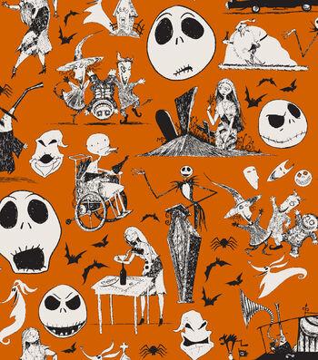 "Nightmare Before Christmas Halloween Cotton Fabric 43""-Friends"