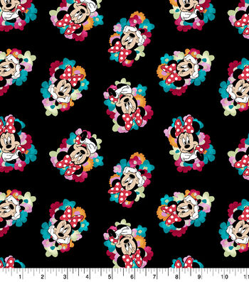 """Disney Minnie Mouse Cotton Fabric 43""""-Floral Toss"""