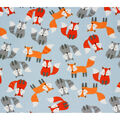 Super Snuggle Flannel Fabric-Tossed Baby Fox on Blue