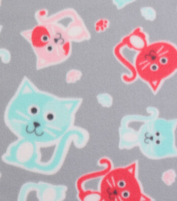 "Blizzard Fleece Fabric 59""-Stamped Kitties on Gray"