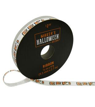 Maker's Halloween Decor Ribbon 3/8''x9'-EEKI on Ivory