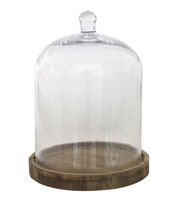 Simply Autumn Large Cloche With Wood Base